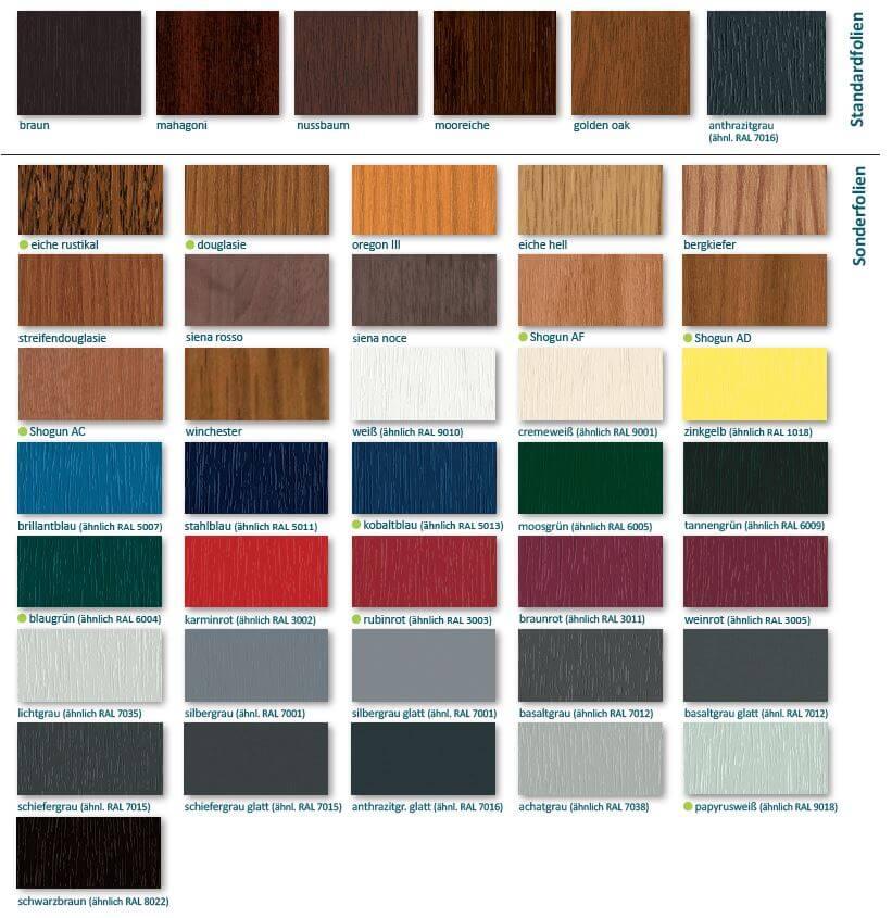 Farben für Kunststofffenster
